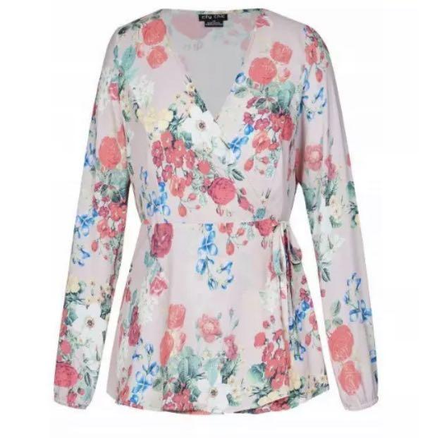 NWT City Chic Pink Floral Peplum Blouse Top sz 20 Large