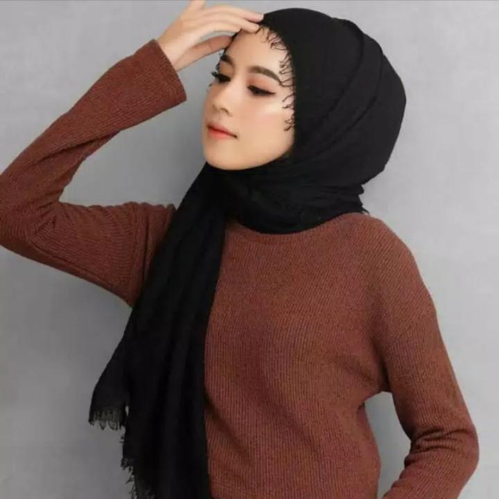 Pashmina Crinkle Shawl Arabian Shawl Fesyen Wanita Muslim Fashion Lainnya Di Carousell