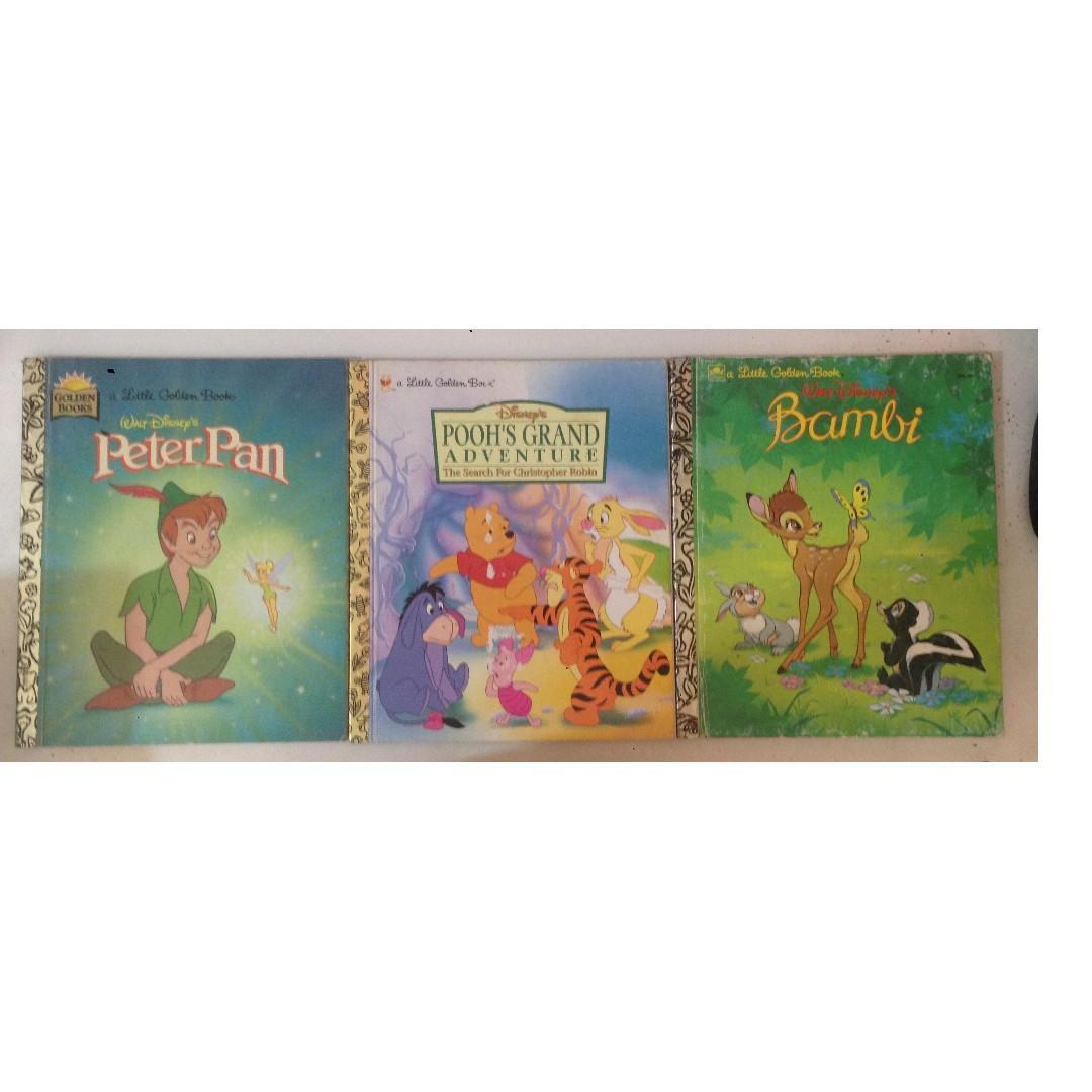 Snow white, Pinocchio,Peter Pan, Poohs Adventure, Bambi,Rydolf, Santas surprise book,the shy little kitten