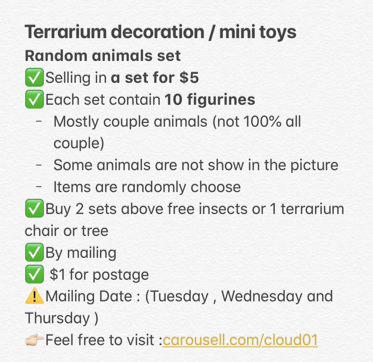 Terrarium set /Terrarium tool / decoration / figurine / chair / tree / animals / couple
