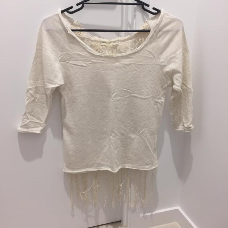 Urban Outfitters White Shirt With Tassels (Aus Size 6)