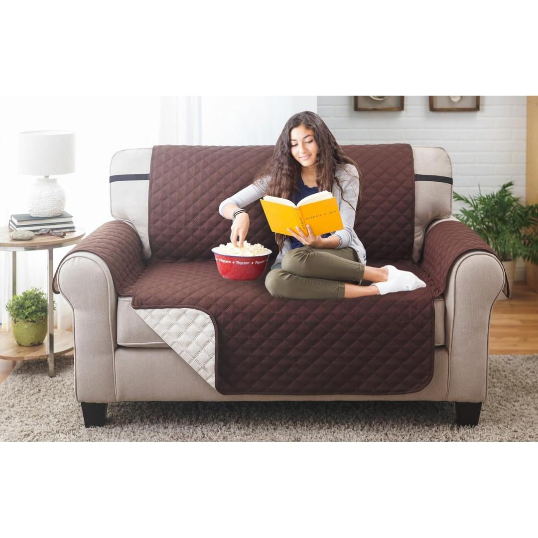 Water-resistant Quilted Reversible Love Seat Cover (Brown/Beige)