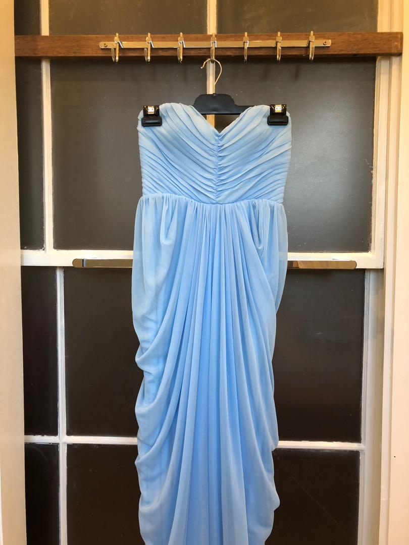 Women's Sheike Size 8 Ball Formal Cocktail Blue Waterfall Maxi Dress