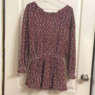 暗紅色雪白球洋裝/連衣裙/上衣罩衫/大蝴蝶結🎀