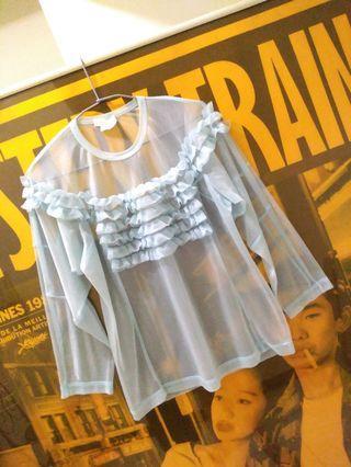Comme des Garçons 川久保玲正牌  迷濛藍  假兩件  七分袖  亮絲性感上衣