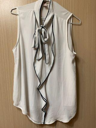 Forever21 經典奧黛麗赫本白色裹黑邊 氣質OL雪紡綁帶背心