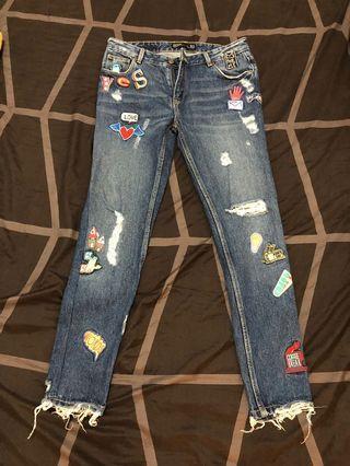Zara貼布牛仔褲