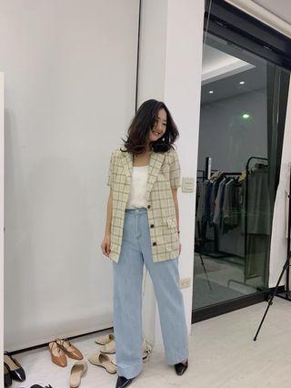 Boga shop韓國🇰🇷一秒變歐膩 短袖棉麻格子西裝外套