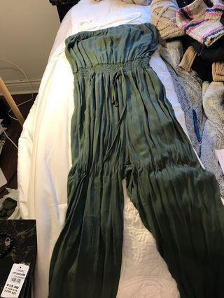 Olive Green Tube Jumpsuit