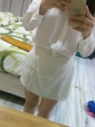 Mini skort white mini short skirt putih