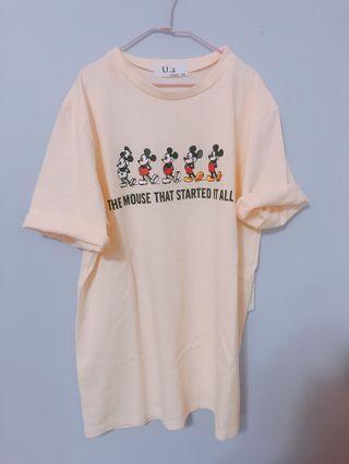 米奇t恤上衣 米杏色 全新
