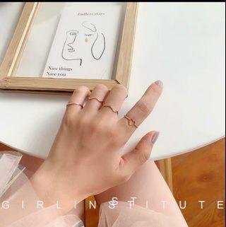 ❤鏤空桃心戒指四件套❤ 韓系 氣質【A01】