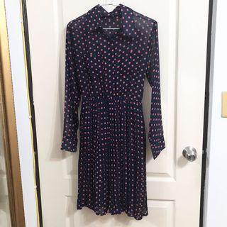雪紡洋裝/深藍點點/復古連衣裙👗