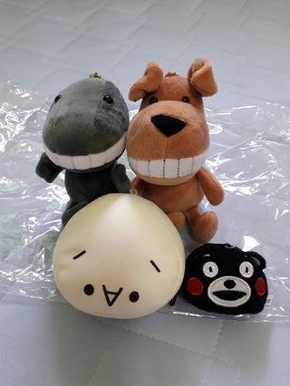 大牙娃娃×2、饅頭娃娃、熊本熊零錢包