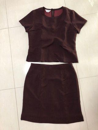 Two-Piece Maroon Dress