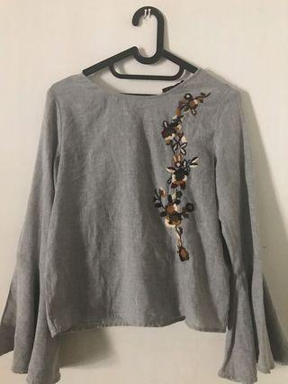 Zara Embroidery Grey Top