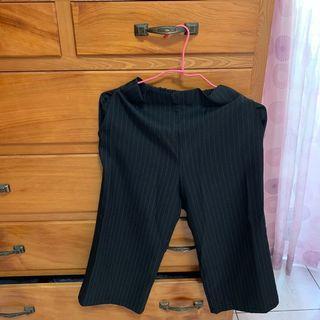 正韓黑色線條寬褲(有實穿圖)