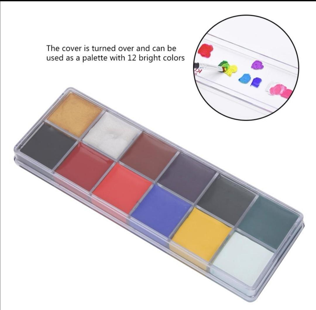 12 Colors Non-toxic Oil Paint Face Body Halloween Day Painting Makeup Set