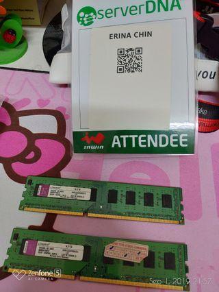 Kingston DDR3 2GB 1333mHz (ONE STICK LEFT)