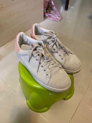 麂皮拼色鞋