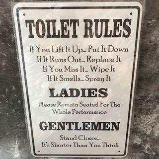 metal plate tin sign signage white toilet rules 30x20