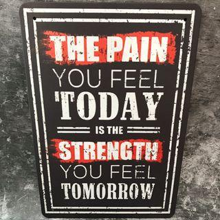 metal plate tin sign signage the pain you feel