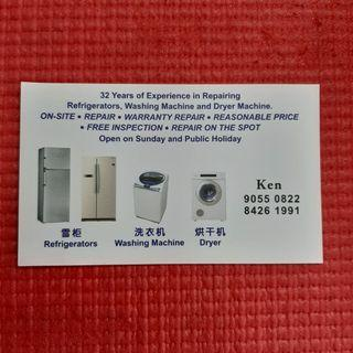 Repair and maintenance of fridge, refrigerators, washing machines and dryers  (Please kindly call uncle Ken directly at 84261991 because he is not IT literate and I am just posting this ad on his behalf.  Thank you for understanding)