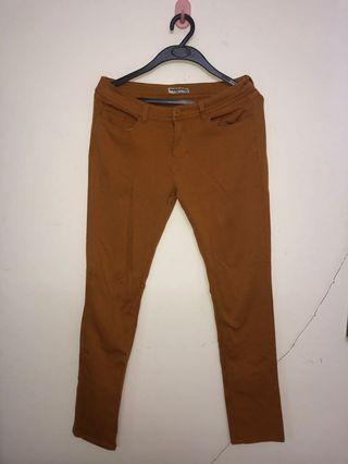 KHAKI ELASTIC JEANS PANTS #1010