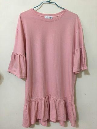 超可愛垂墜感粉色洋裝!