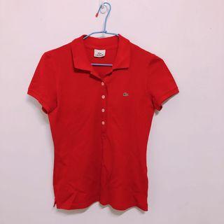 轉賣  Lacoste polo衫 女用 二手 正紅色 紅色 正品 台灣專櫃購入