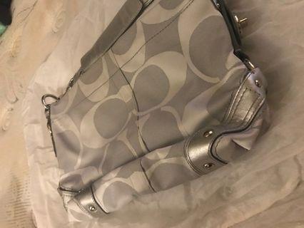 Authentic Silver Coach Bag