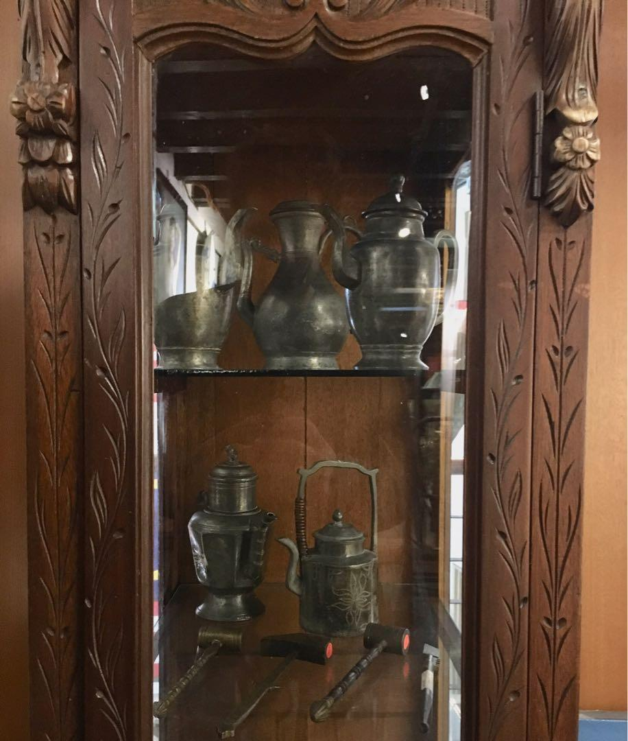 19th century Glass Display Cabinet with Monumental Carving