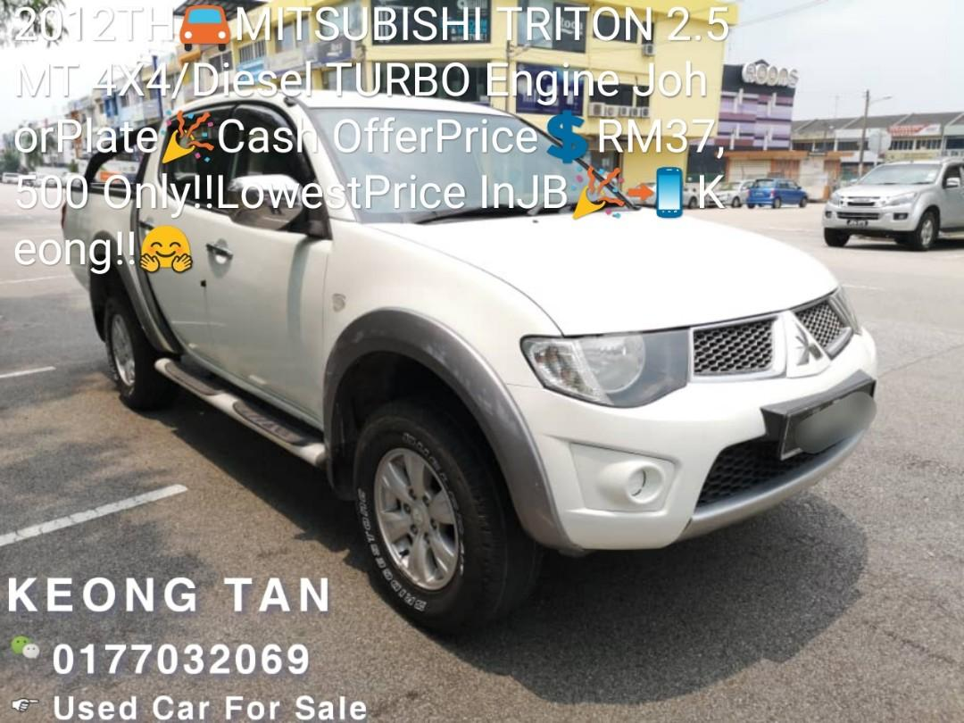 2012TH🚘MITSUBISHI TRITON 2.5MT 4X4/Diesel TURBO Engine JohorPlate🎉Cash OfferPrice💲RM37,500 Only‼LowestPrice InJB🎉📲 Keong‼🤗