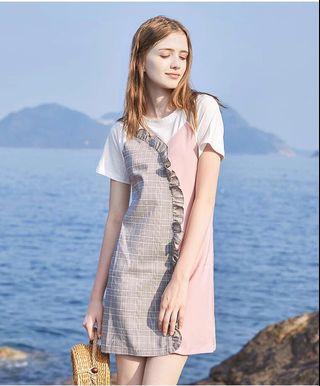 洋裝🍰✨夏季新款短袖假倆件T恤洋裝連身裙-粉色拼接格紋