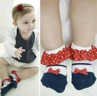 Toddler Baby Socks Girl Slippers Dots Princess Lace Soft Cotton  Socks Red And Blue