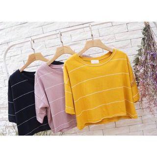 全新轉賣✨韓系寬版條紋落肩短版上衣棉T 土黃色