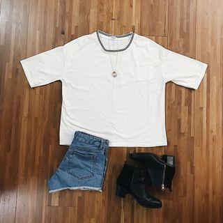 簡約白色五分袖上衣