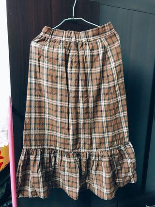 日系格子魚尾裙