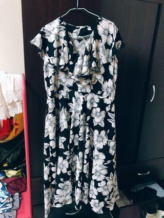 復古大花朵洋裝