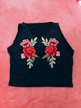 歐美玫瑰刺繡短版上衣