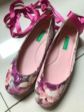 (New) Floral suede ballet pump