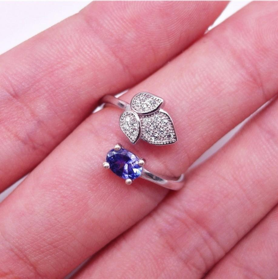 925 Sterling Silver Ring natural BLUE OVAL TANZANITE PLATED WHITE GOLD 925 STERLING PERAK ASLI IMPORT motif LEAF free size