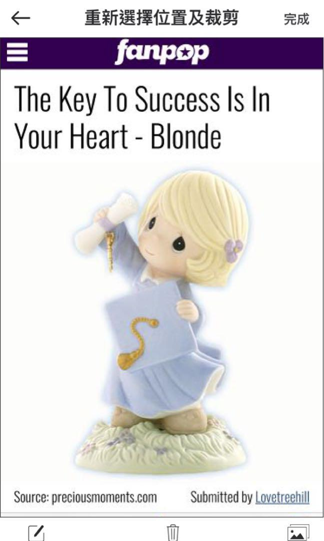 Precious Moments Authentic The Key To Success Is In Your Heart Decoration Hand Painted Porcelain Bisque Figurine 畢業女孩擺設 畢業證書 畢業帽 有鑰匙裝飾 搖動時會發出悅耳的聲音 【適合送比在學/升學/畢業既大中小朋友】