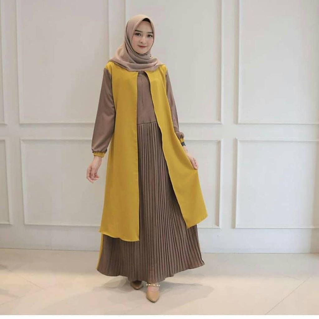 Asika maxi dress muslim Gamis Outer gamis plisket polos gamis ...