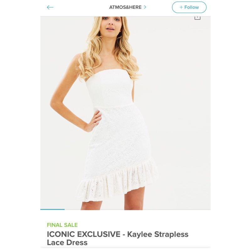 Atmos&Here Kaylee strapless white lace dress - NEW - AU8