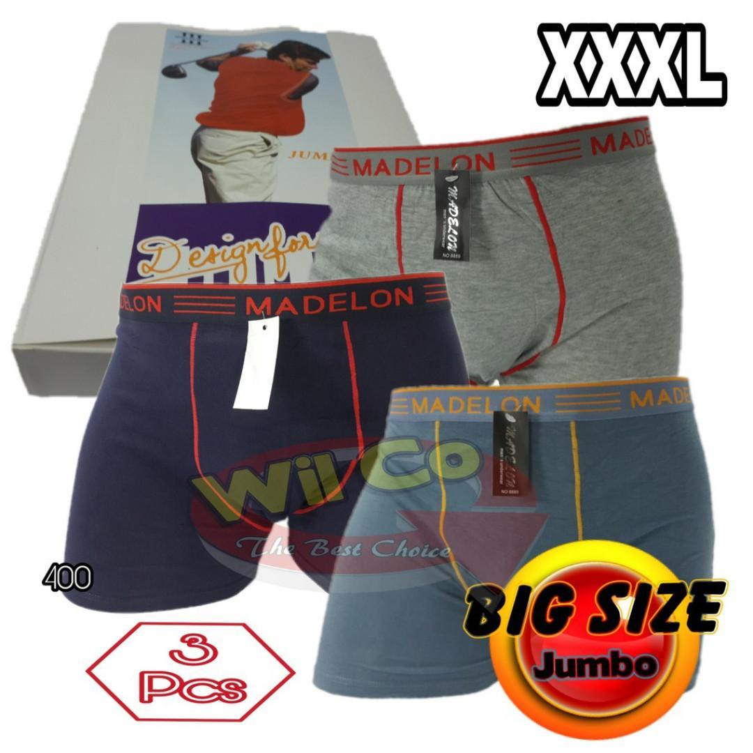 B400T Celana Dalam Boxer Pria Jumbo XXXL Big Size - Multi Color   Isi 3 Pcs