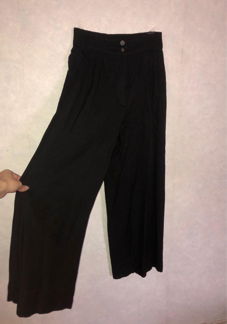 Black H&M Wide-leg Pants// 黑色七分闊腳褲