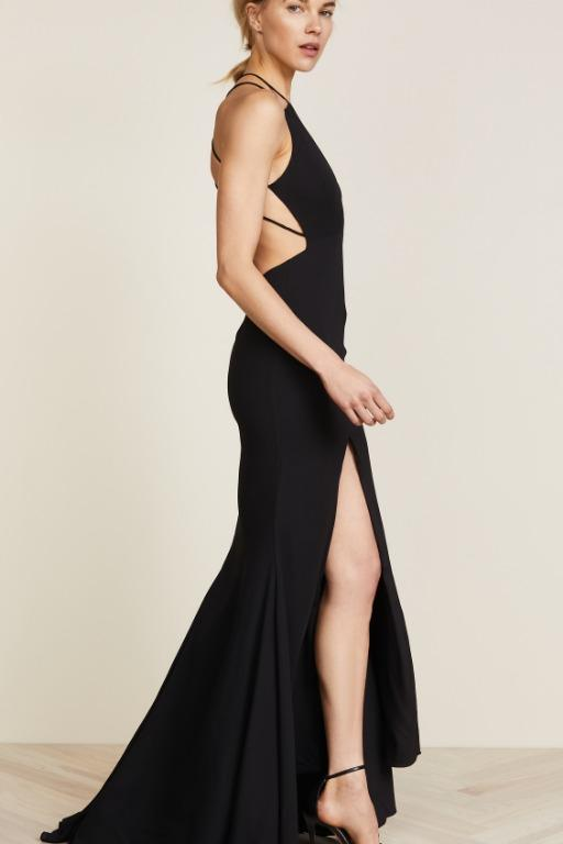BNWT FAME & PARTNERS BLACK SURREAL DREAMER GOWN - SIZE 4 AU/0 US (RRP $289)