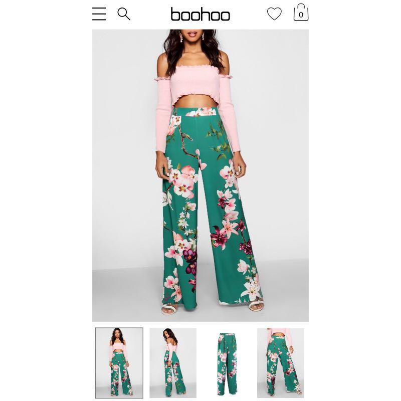BooHoo high waisted oriental wide leg culottes - AU/UK8 - NEW