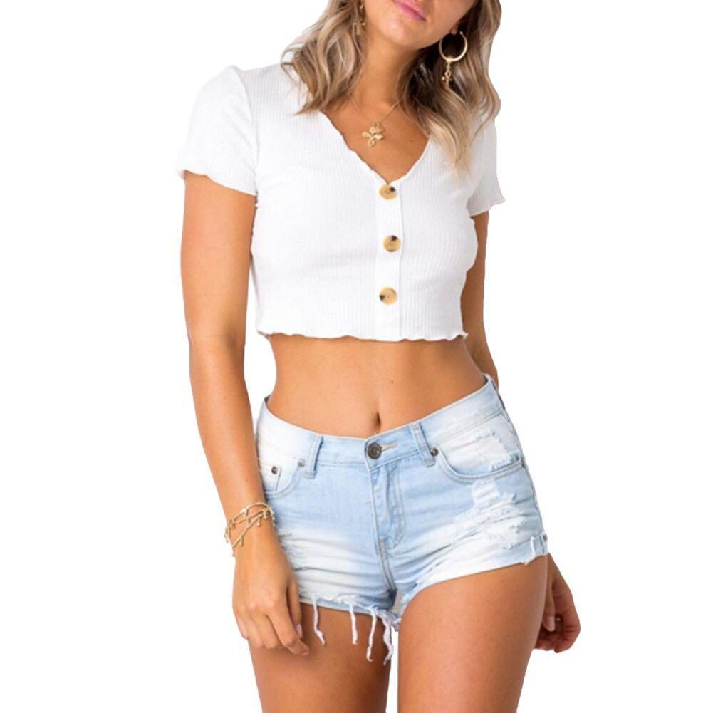 Button Up Crop Top